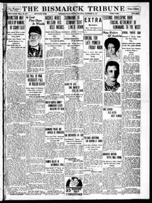 The Bismarck Tribune Gazetesi 23 Kasım 1916 kapağı