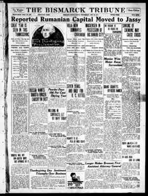 The Bismarck Tribune Gazetesi 29 Kasım 1916 kapağı