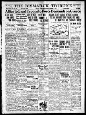 The Bismarck Tribune Gazetesi 1 Aralık 1916 kapağı