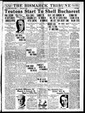 The Bismarck Tribune Gazetesi 4 Aralık 1916 kapağı