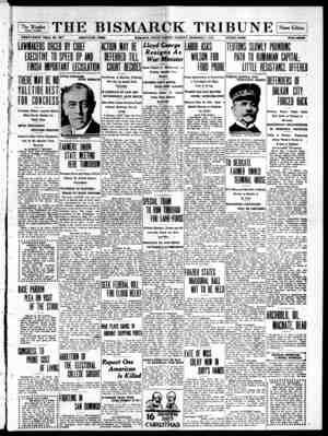 The Bismarck Tribune Gazetesi 5 Aralık 1916 kapağı