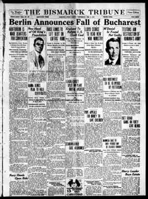 The Bismarck Tribune Gazetesi 6 Aralık 1916 kapağı