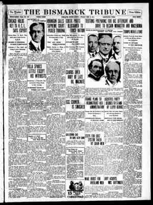 The Bismarck Tribune Gazetesi 8 Aralık 1916 kapağı