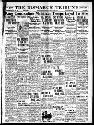 The Bismarck Tribune Gazetesi 9 Aralık 1916 kapağı