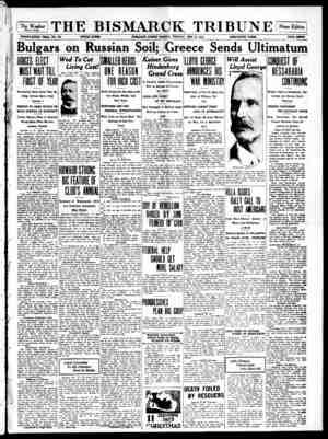 The Bismarck Tribune Gazetesi 11 Aralık 1916 kapağı