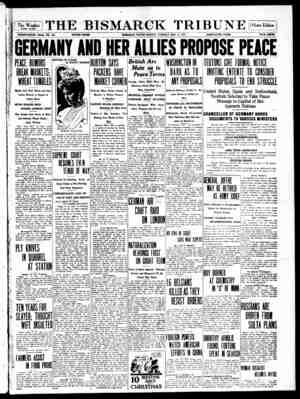 The Bismarck Tribune Gazetesi 12 Aralık 1916 kapağı