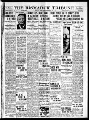 The Bismarck Tribune Gazetesi 13 Aralık 1916 kapağı