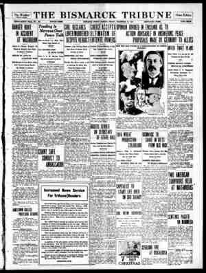 The Bismarck Tribune Gazetesi 15 Aralık 1916 kapağı