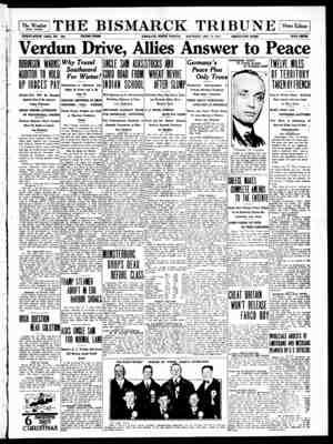 The Bismarck Tribune Gazetesi 16 Aralık 1916 kapağı