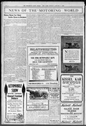 (HE BROOKLYN DATLY EAGLE. NEW YORK. SUNDAY. JANUARY 3. 1909. NEWS OF THE = | Palace Motor Car Show Settles Do Early...