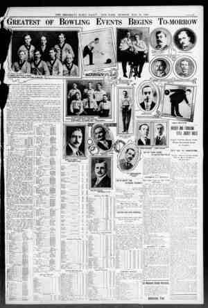 THE BROOKLYN DAILY EAGL NEW YORK. SUN DAY. MAY 23. 1000. Greatest of Bowling Events Begins To-morrow ft . a? as; 1 Vw -OA