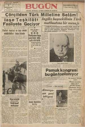 Bugün Gazetesi 2 Ocak 1941 kapağı