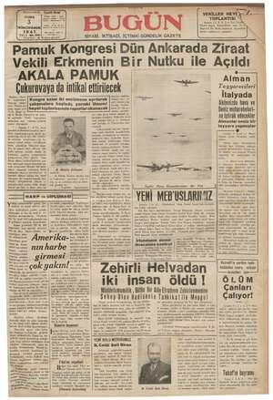 Bugün Gazetesi 3 Ocak 1941 kapağı
