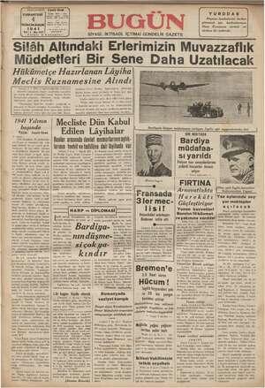 Bugün Gazetesi 4 Ocak 1941 kapağı