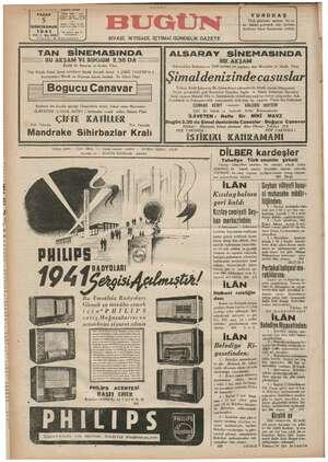 Bugün Gazetesi 5 Ocak 1941 kapağı