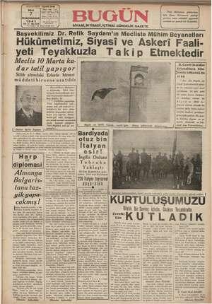 Bugün Gazetesi 7 Ocak 1941 kapağı
