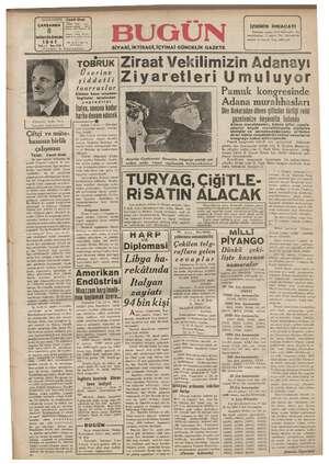 Bugün Gazetesi 8 Ocak 1941 kapağı