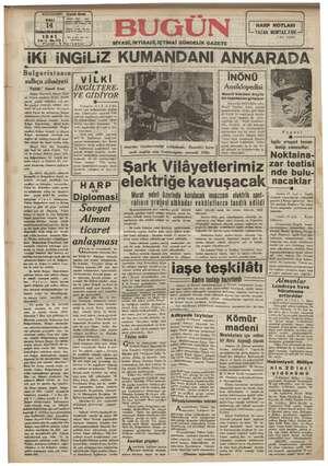 Bugün Gazetesi 14 Ocak 1941 kapağı