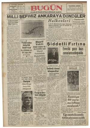 Bugün Gazetesi 15 Ocak 1941 kapağı