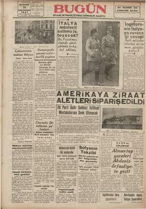 Bugün Gazetesi 16 Ocak 1941 kapağı