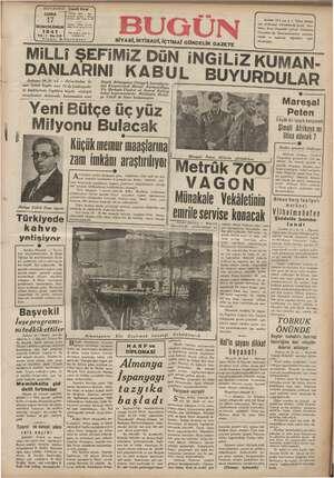 Bugün Gazetesi 17 Ocak 1941 kapağı