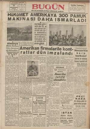 Bugün Gazetesi 18 Ocak 1941 kapağı