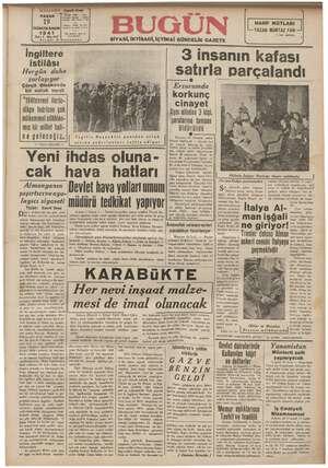 Bugün Gazetesi 19 Ocak 1941 kapağı