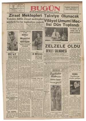 Bugün Gazetesi 21 Ocak 1941 kapağı