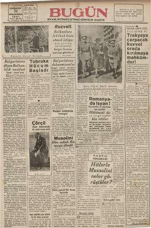 Bugün Gazetesi 22 Ocak 1941 kapağı