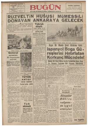 Bugün Gazetesi 23 Ocak 1941 kapağı