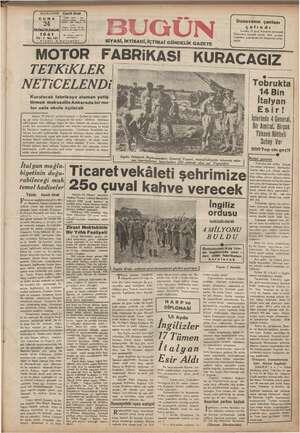 Bugün Gazetesi 24 Ocak 1941 kapağı