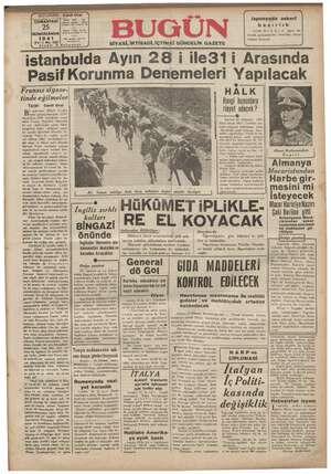 Bugün Gazetesi 25 Ocak 1941 kapağı