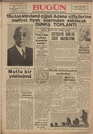 Bugün Gazetesi 26 Ocak 1941 kapağı