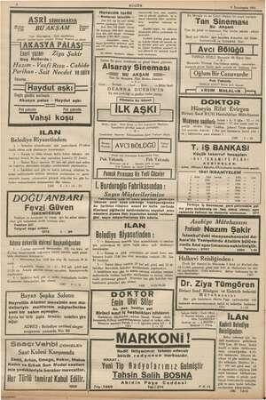 yy EDAŞ 4 BUGÜN 9 İkinciteşrin 1941 ——— i Havacılık tarihi tayyareciliği hem uzun mesafeli, hem e de yüksek lard: ta araya b