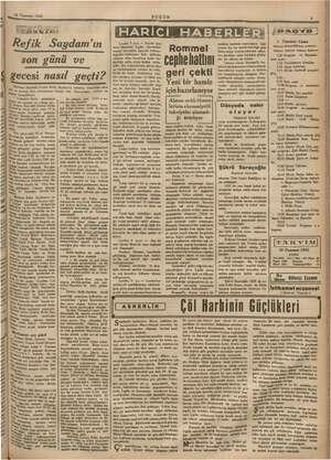 """KİLİ ln sil > ii A, ğ a SA RAMA NANA, mm. 10 Temmuz 1942 Refik Saydam"""" ın son günü ve gecesi nasıl geçti? Me Rün va gı"""