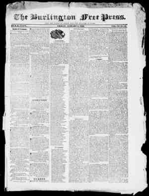 Burlington Free Press Gazetesi January 8, 1836 kapağı