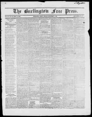 VOli. XX. NO. 1. Whole IVo. 100a. BURLINGTON, FRIDAY MORNING, SEPTEMBER 4, 1840. NEW SERIES, No. 51. L URLINGTON FREE PRESS,
