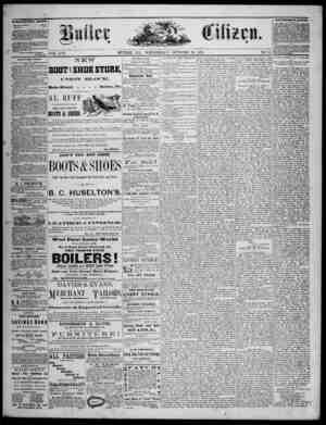 The Butler Citizen Gazetesi 29 Ekim 1879 kapağı