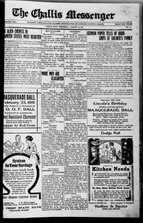 The Challis Messenger Gazetesi January 16, 1918 kapağı