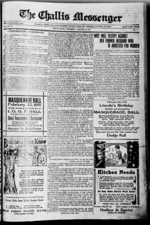 The Challis Messenger Gazetesi January 23, 1918 kapağı