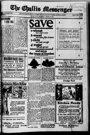 The Challis Messenger Gazetesi January 30, 1918 kapağı