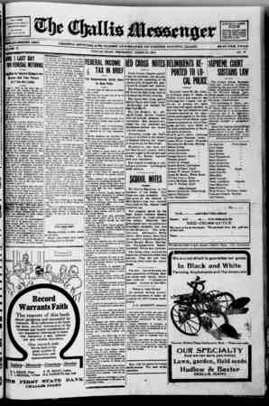 The Challis Messenger Gazetesi March 20, 1918 kapağı