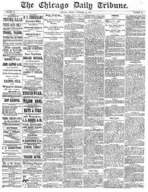 Chicago Daily Tribune Gazetesi 18 Ekim 1872 kapağı