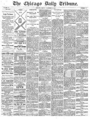 Chicago Daily Tribune Gazetesi 8 Kasım 1872 kapağı
