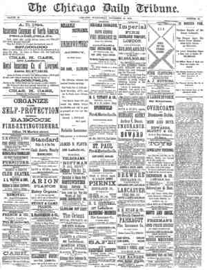 Chicago Daily Tribune Gazetesi 13 Kasım 1872 kapağı