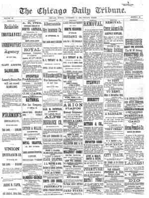 Chicago Daily Tribune Gazetesi 17 Kasım 1872 kapağı