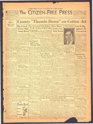 The Citizen-Free Press Gazetesi 16 Aralık 1934 kapağı