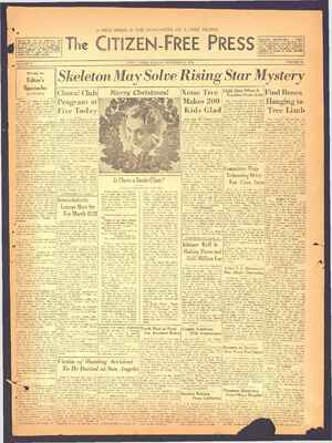The Citizen-Free Press Gazetesi 23 Aralık 1934 kapağı