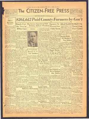 The Citizen-Free Press Gazetesi 3 Ocak 1935 kapağı