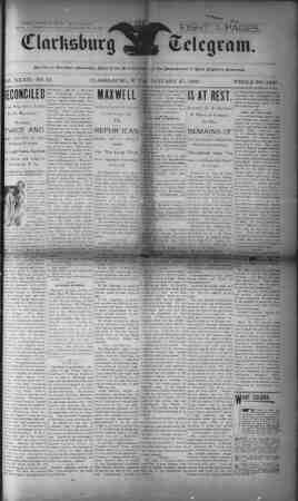 The Clarksburg Telegram Gazetesi 27 Ocak 1893 kapağı